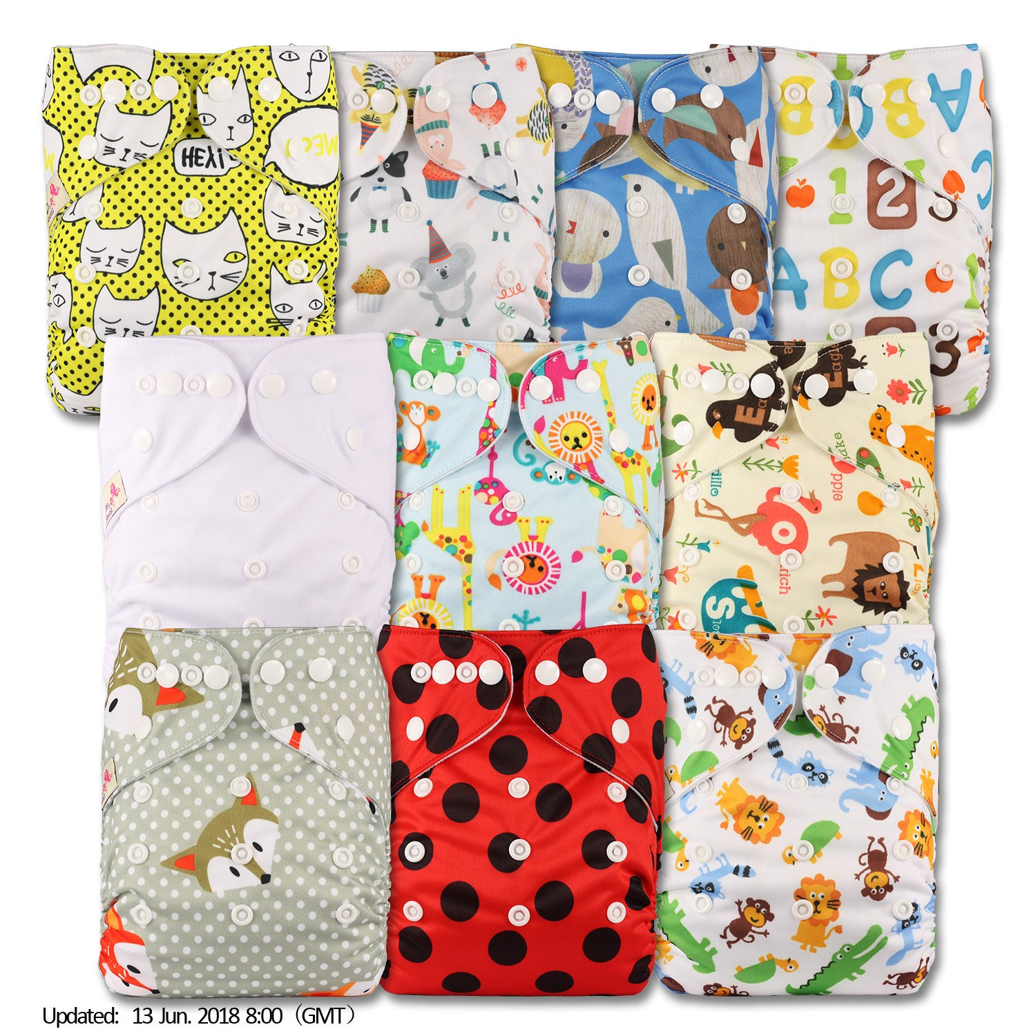 Littles & Bloomz, Reusable Pocket Cloth Nappy, Fastener: Popper, Set of 10, Patterns 1005, With 10 Bamboo Inserts