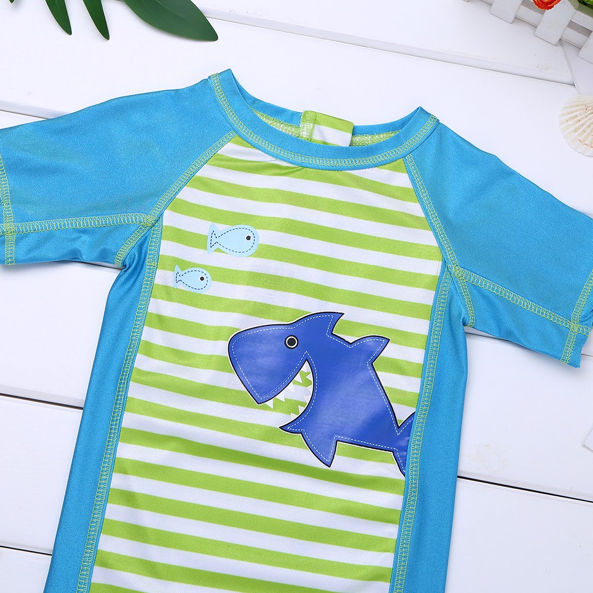 TiaoBug Baby Boys Girls Short Sleeve Shark Rash Guard Shirts Zippered Striped Swimsuit Swimwear UPF 50+Sunsuits