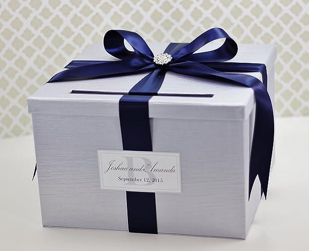 Amazon.com: Wedding Card Holder Box Silver and Navy Blue ...