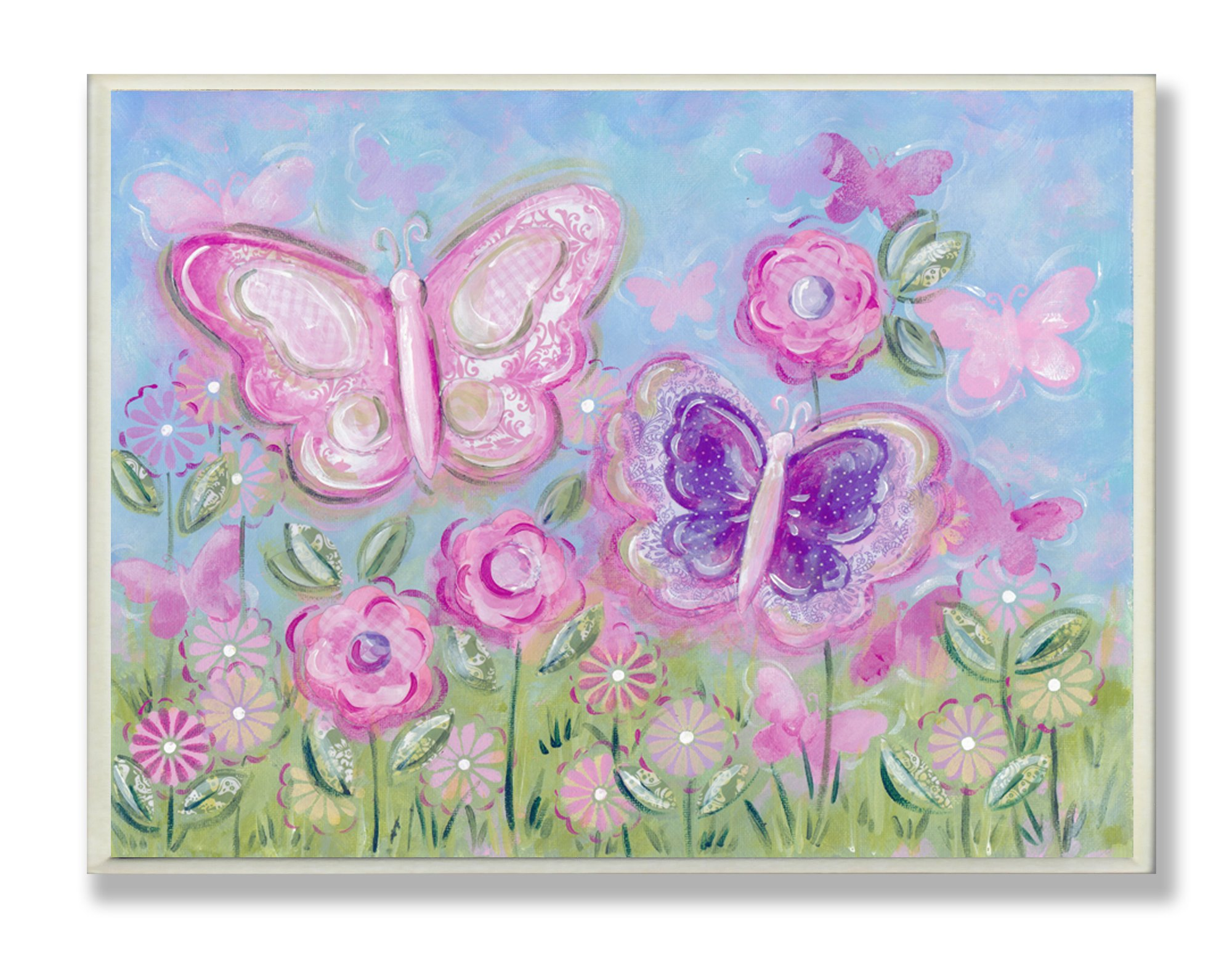 The Kids Room by Stupell Pastel Butterflies in a Garden Rectangle Wall Plaque by The Kids Room by Stupell