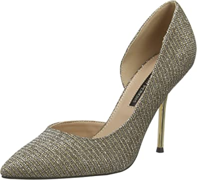 Dorothy Perkins Gold Dessie Pin Heel Court Shoes, Plate
