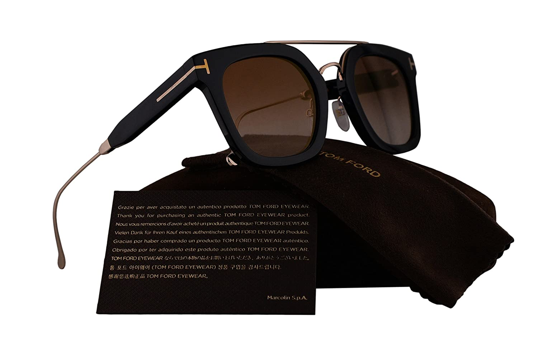 1f1074fa2df Amazon.com  Tom Ford FT0541 Alex-02 Sunglasses Shiny Black Gold w Brown  Gradient Lens 01F TF541 FT 541 TF 541  Clothing