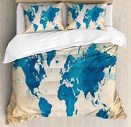 Amazon.com: Map Bedding Duvet Cover Set, Artistic Vintage ...