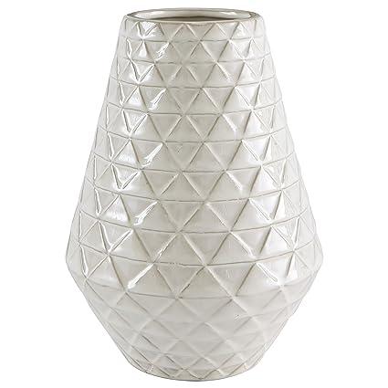 Amazon Stone Beam Modern Triangle Pattern Stoneware Vase 9h