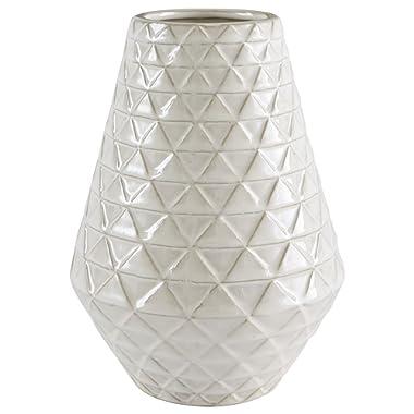 Stone & Beam Modern Triangle Pattern Stoneware Vase, 9 H, Ecru