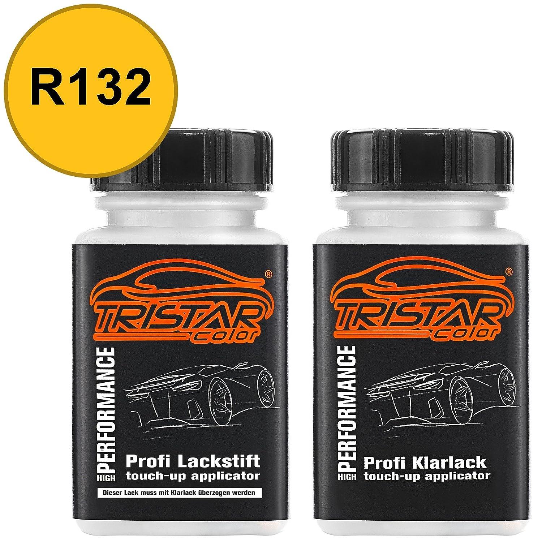 TRISTARcolor Autolack Lackstift Set VW/Volkswagen R132 / LR132 Postgelb/Maisgelb / Ginstergelb Basislack Klarlack je 50ml MG Colors GmbH
