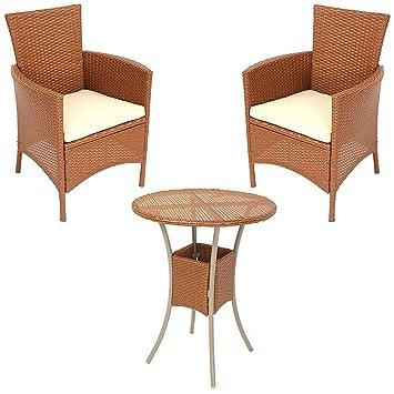 Amazon De Garten Garnitur Sitzgruppe Rom Poly Rattan Tisch Rund