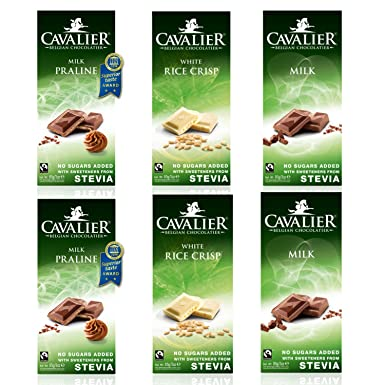 Cavalier Stevia Chocolate Belga Sabores Surtidos - Sin azúcar añadida - 6x85g Leche, Pralinè y