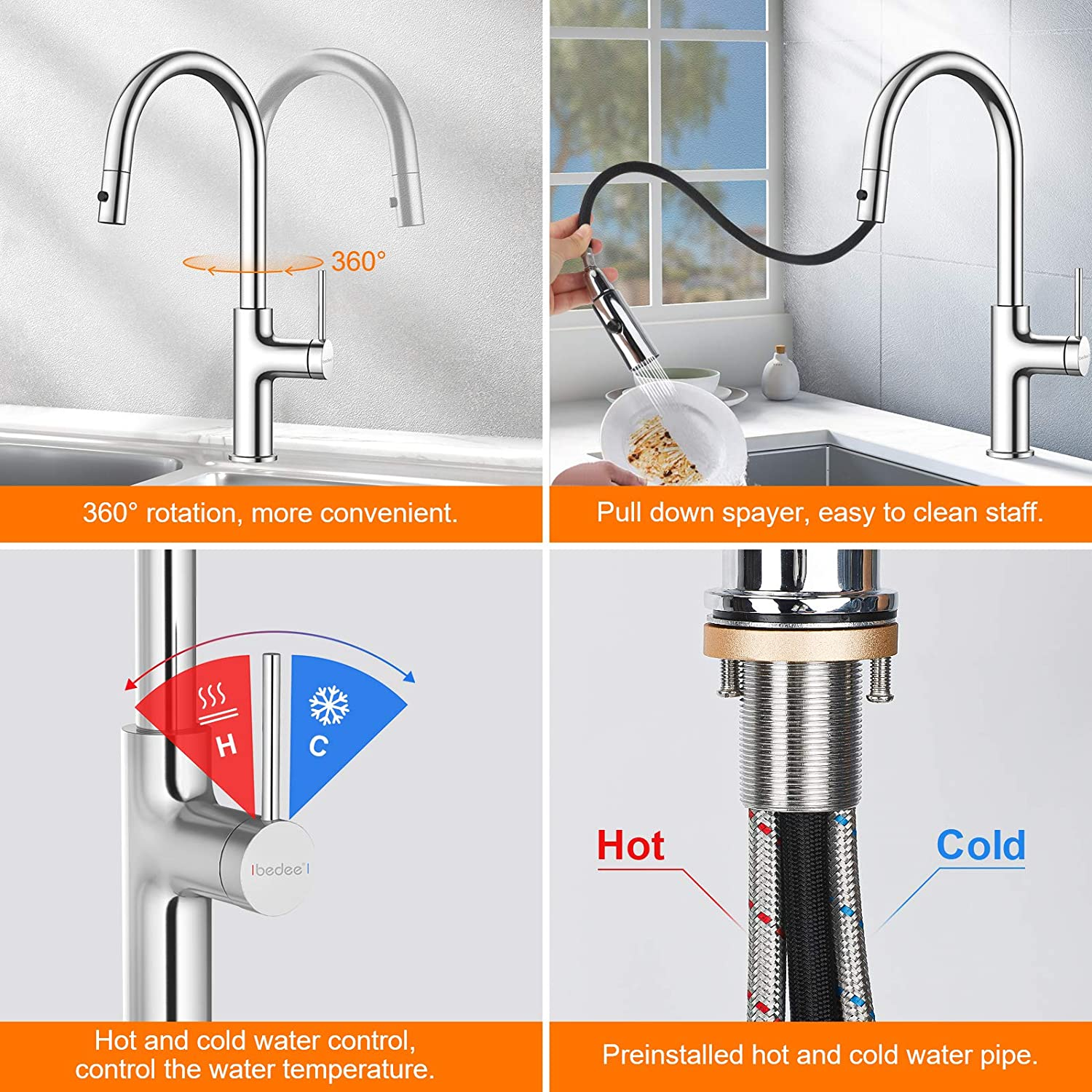 Kitchen Sink Tap 360/° Swivel Mixer Tap for Kitchen Sink Single Handle Hot and Cold Water Sink Taps for Kitchen Bathroom Cloakroom Balcony Laundry Spout 304 Stainless Steel Pull Down Sprayer