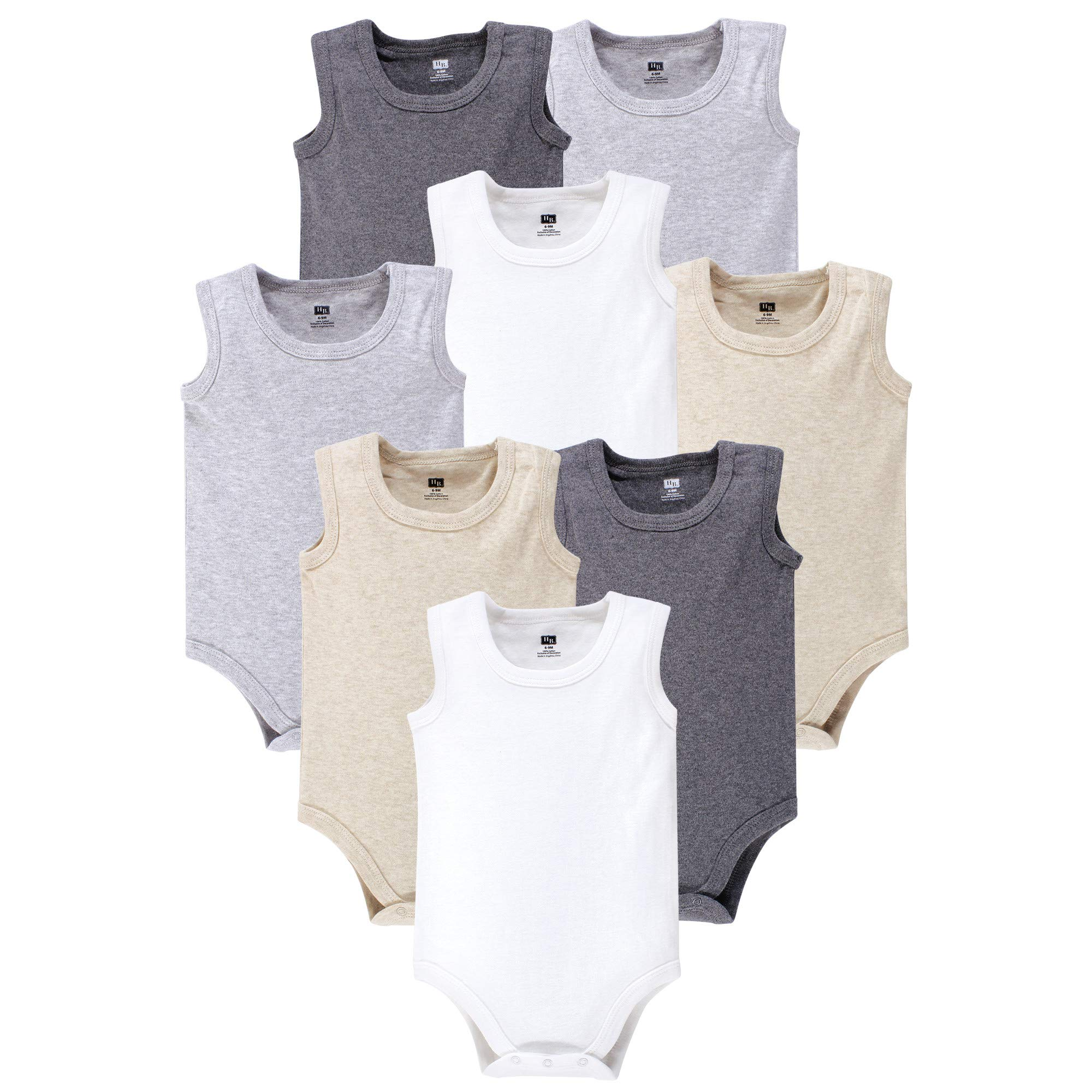 Hudson Baby 8 Pack Sleeveless Cotton Bodysuits, Heather Gray, 18-24 Months
