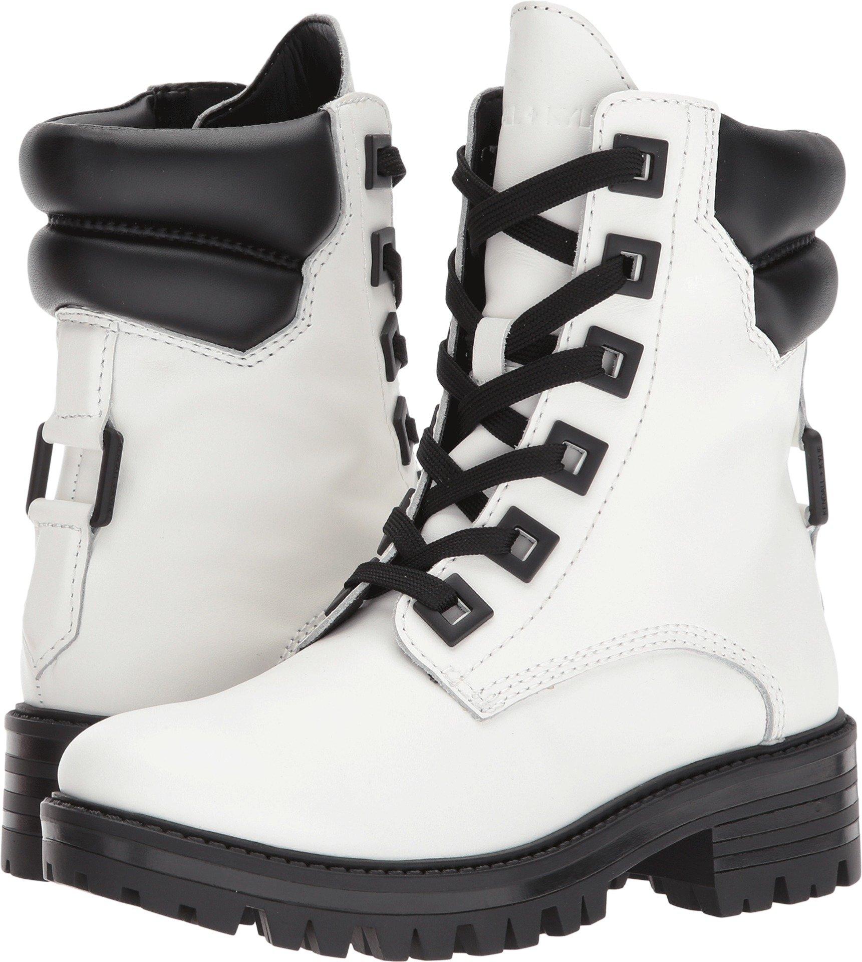 KENDALL + KYLIE Women's East Combat Boot, White, 8.5 Medium US