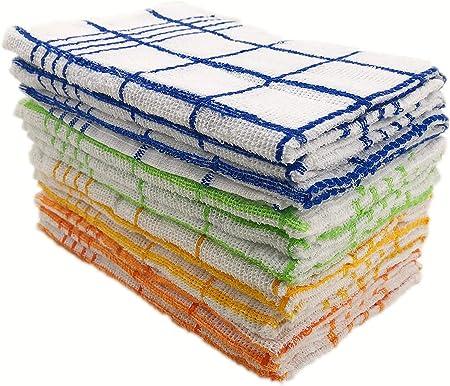 ZD Paños de Cocina Rizo 100% Algodón con Dibujo Bordado,Multicolor,Pack 12 Toallas de Cocina (2500): Amazon.es: Hogar