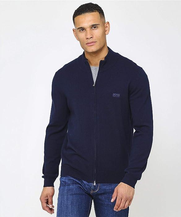 17d05082c BOSS Men's Virgin Wool Zip-Through Egusto Cardigan Blue M: Amazon.co ...