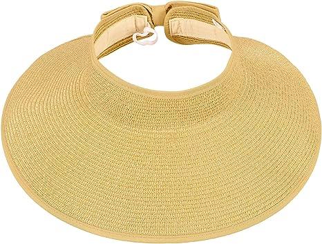 Womens Summer Beach Work Hat Sun Brim Open Top Cap Visor Fold able Roll Up Wide