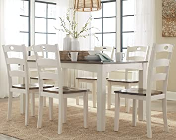 Ashley Woodanville D335 425 7 Piece Dining Room Table Set With Brown  Tabletops And
