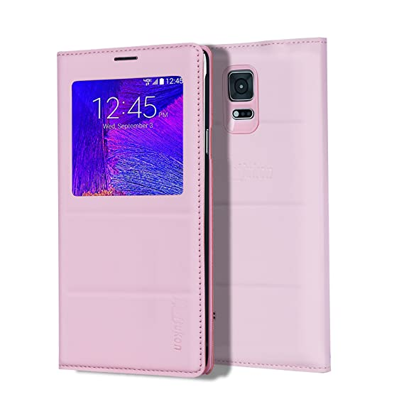 low priced 1e929 f1edb Galaxy Note 4 Case, Galaxy Note 4 S View Case, Huijukon Premium Leather  S-View Flip Cover Folio Case[Clear View Window] for Samsung Galaxy Note 4  ...