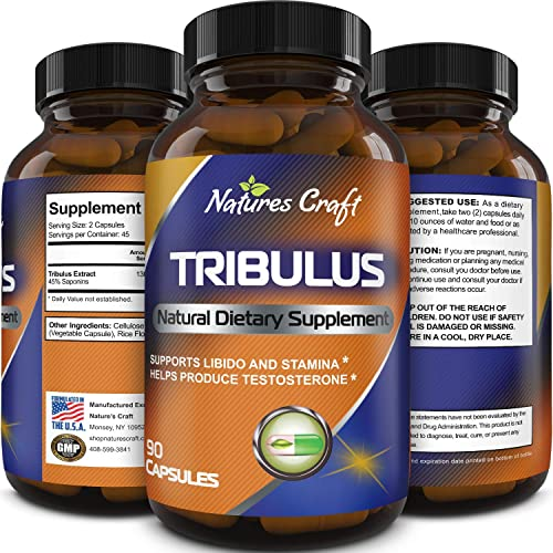 Natures Craft s Tribulus Terrestris Extract – Pure Source of Energy Extremely Potent Formula – Increases Testosterone Stamina Levels by 137 – Helps with Body Fat Loss, Muscle Sleep Benefits