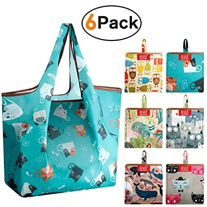 e4928428a63f REGER Reusable Bags for Shopping Grocery 50LBS Foldable Fit Built-in Pouch  Gift Tote Polyester Cloth Bags Eco-Friendly Nylon Reusable Shopping Bags ...