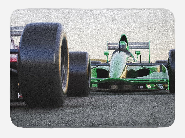 Ambesonne Cars Bath Mat, Sports Theme Indy Vehicles on an Asphalt Road Motion Blur Formula Race Print, Plush Bathroom Decor Mat with Non Slip Backing, 29.5