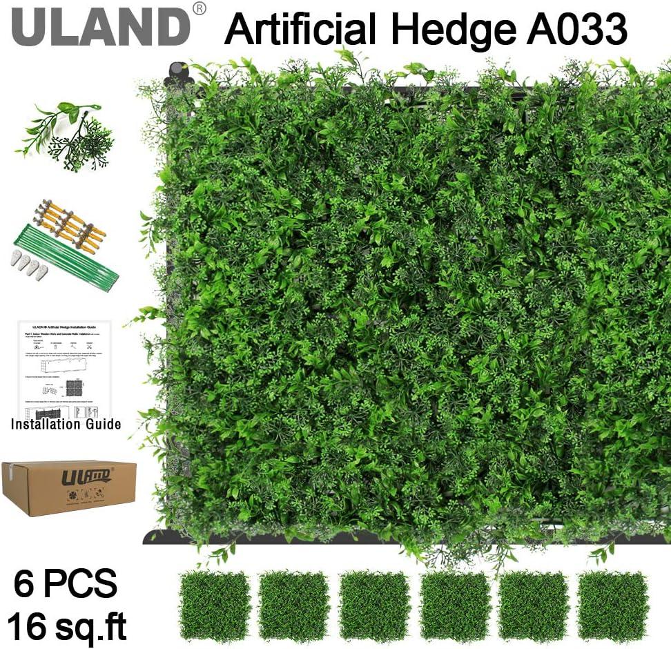 Uland Artificial de boj cobertura paneles, plástico verde Planta Valla para exteriores, privacidad valla Protector de pared, jardín decoración para el hogar, 20