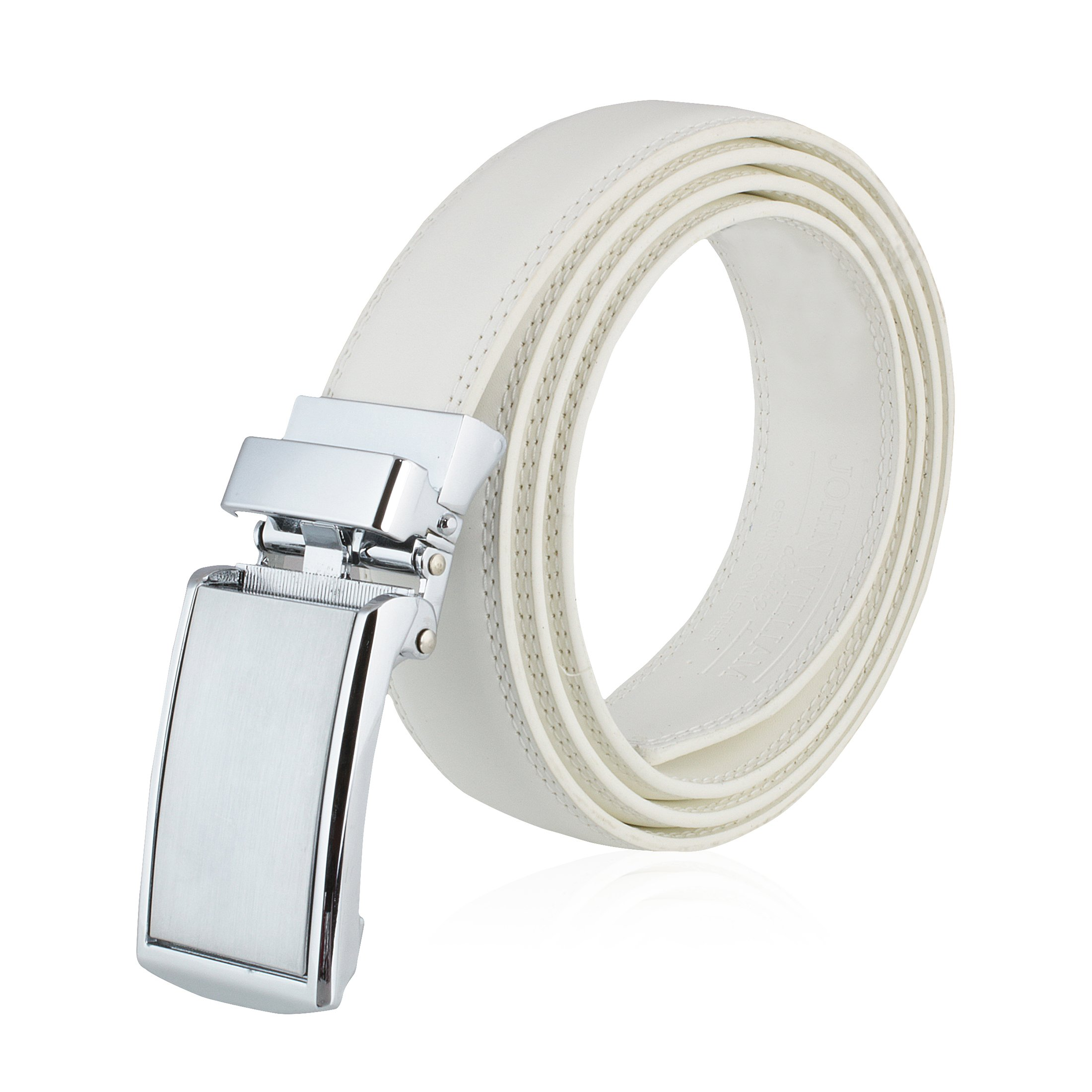 Men's Genuine Leather Ratchet Belt: Stainless Steel Buckle Dress Belts for Business, Formal & Casual Wear - White