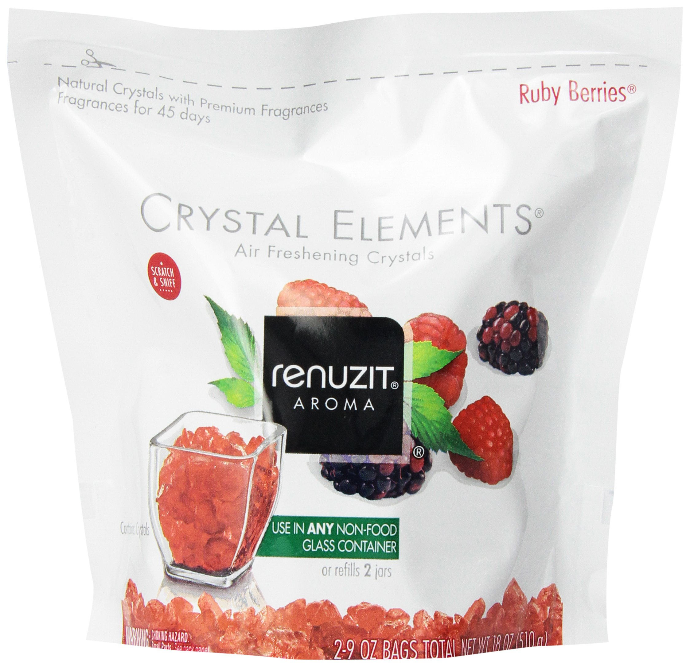 Renuzit Crystal Elements Ruby Berry Refill, 2-9 oz Bags