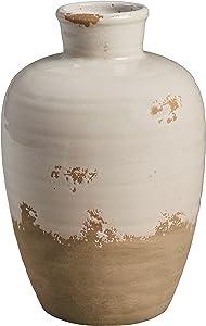 Stone & Beam Modern Farmhouse Milk Jug Stoneware Home Decor Flower Vase - 6 x 9.25 Inches, Cream and Clay