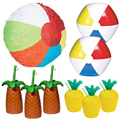 Party City Beach Ball Party Kit for 6 Guests, Party Supplies, Includes Pinata, Stylish Cups and Inflatable Beach Balls: Kitchen & Dining