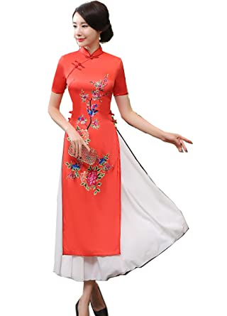 Shanghai Story Vietnam ao dai Dress Chinese Cheongsam Dress Long Qipao S Red