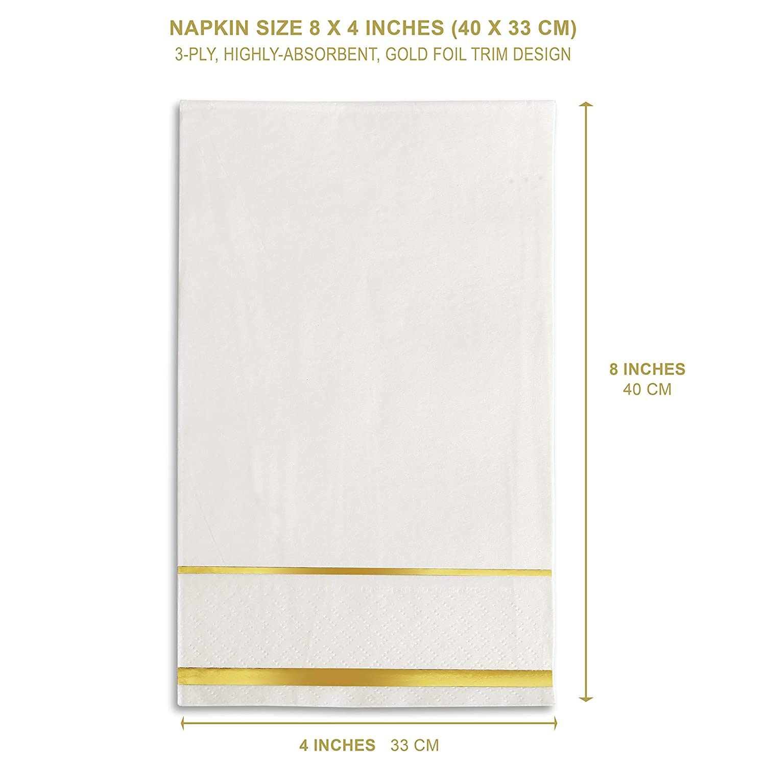 8 x 4 Inches Wedding Napkins Gold Trim White and Gold Paper Party Napkins GLAM Paper Napkins 100 Pack Disposable Dinner Napkins