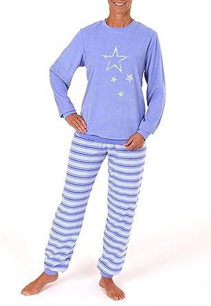best service 92836 6234a Damen Frottee Pyjama lang mit Bündchen und Sterne-Motiv ...