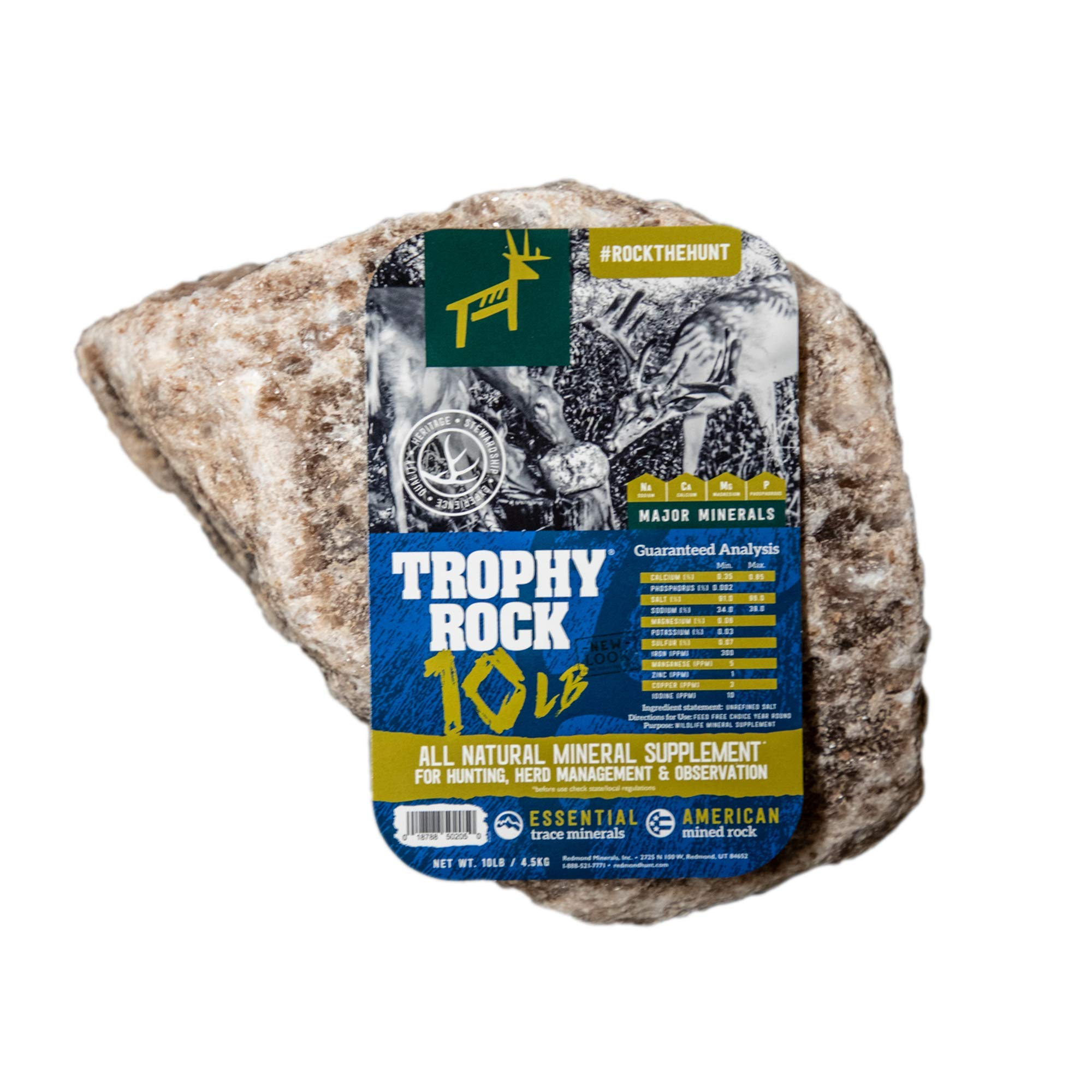 TROPHY ROCK Redmond All-Natural Mineral Rock/Salt Lick, Attract Deer and Big Game (10lb) by TROPHY ROCK