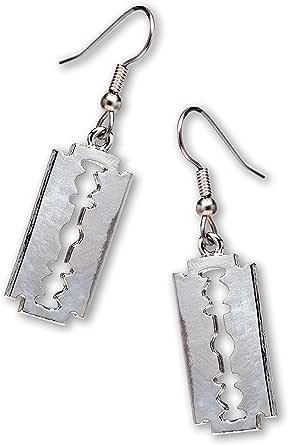 Gothic Razor Blade Dangle Earrings Polished Silver Finish Pewter