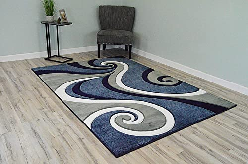 PlanetRugs Premium 3D Effect Hand Carved Thick Modern Contemporary Abstract Area Rug Design 327 Navy Blue 4'x5'3''
