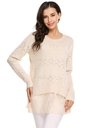 7a70399358 Zeagoo Women s Loose Fit Lace up V Neck Long Sleeve Knit Sweater ...