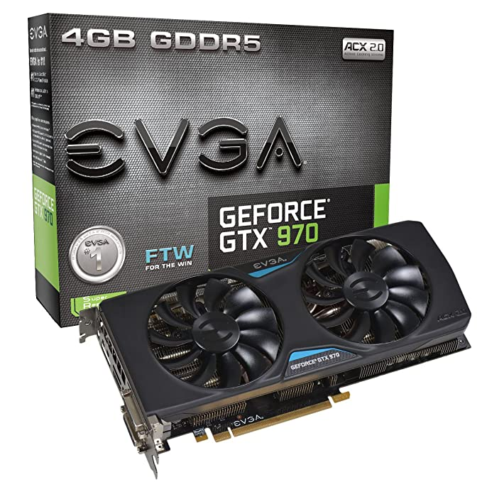 EVGA GeForce GTX 970 4GB FTW GAMING ACX 2 0, 26% Cooler and 36% Quieter  Cooling Graphics Card 04G-P4-2978-KR