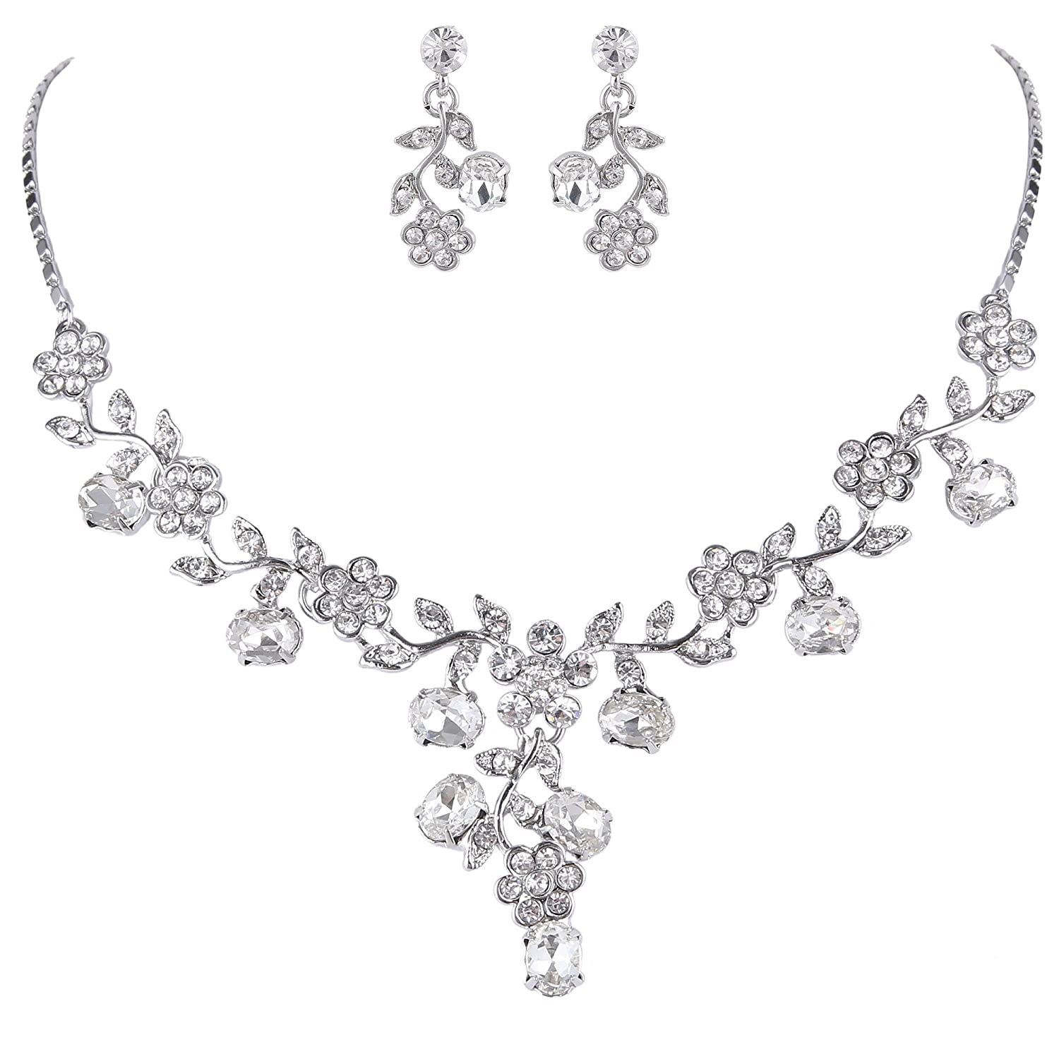 Ever Faith Wedding Leaf Vine Necklace Earrings Set Clear Austrian Crystal Silver-Tone N03848-1 N03848-7