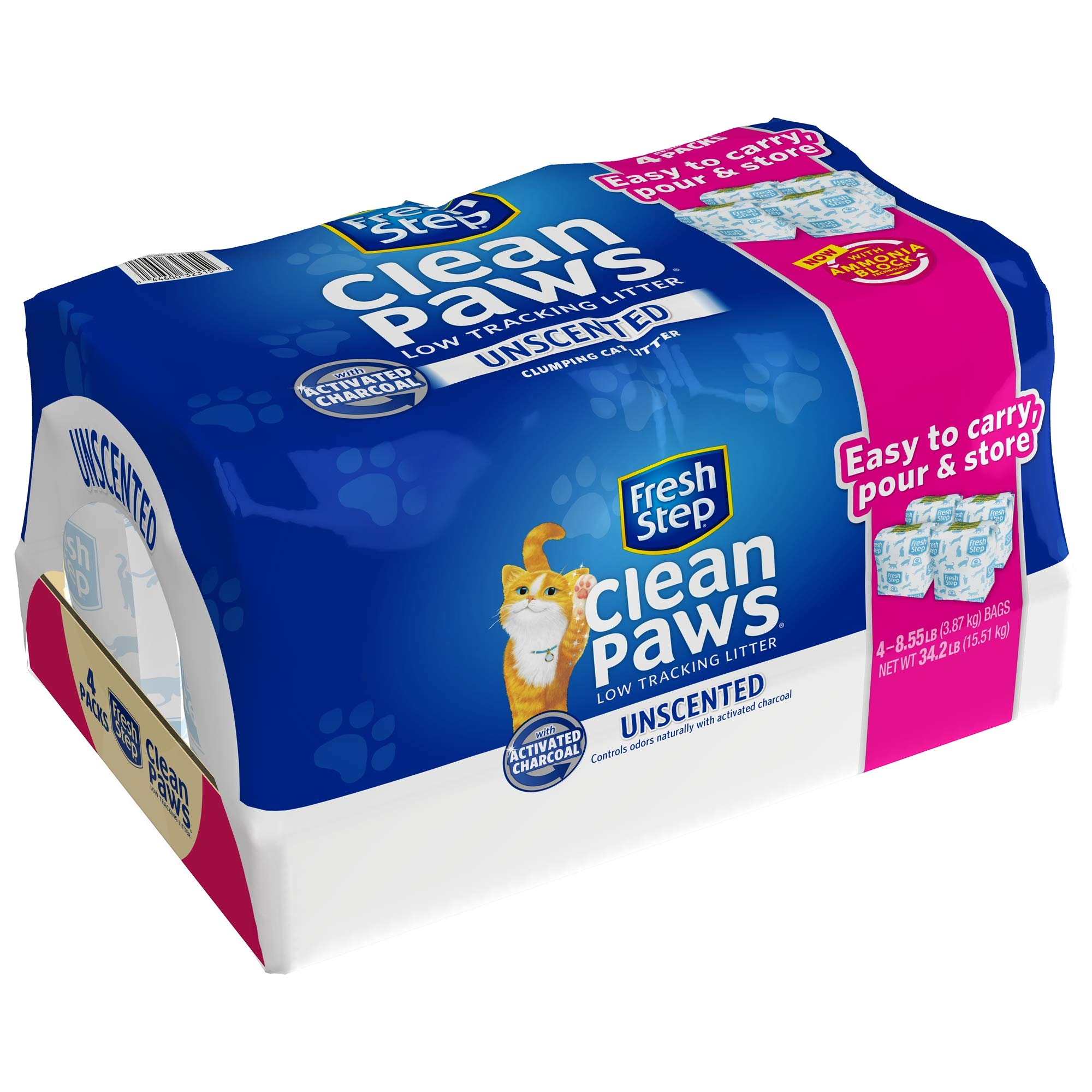 Fresh Step Clean Paws Unscented Low Tracking Clumping Cat Litter, 34.2 pounds