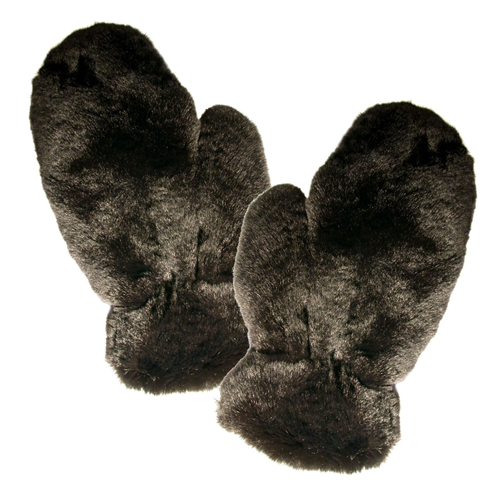MinkgLove Full Fur Massage Glove, Rex Rabbit, Covered Inside and Outside, Velvety Soft Plush Feel, Black, Hand Tailored, Unisex, One Size - Four Sided All Fur by MinkgLove