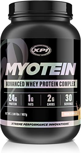 Myotein Protein Powder French Vanilla, 2lb – Advanced Whey Protein Powder Complex Shake – Hydrolysate, Isolate, Concentrate and Micellar Casein