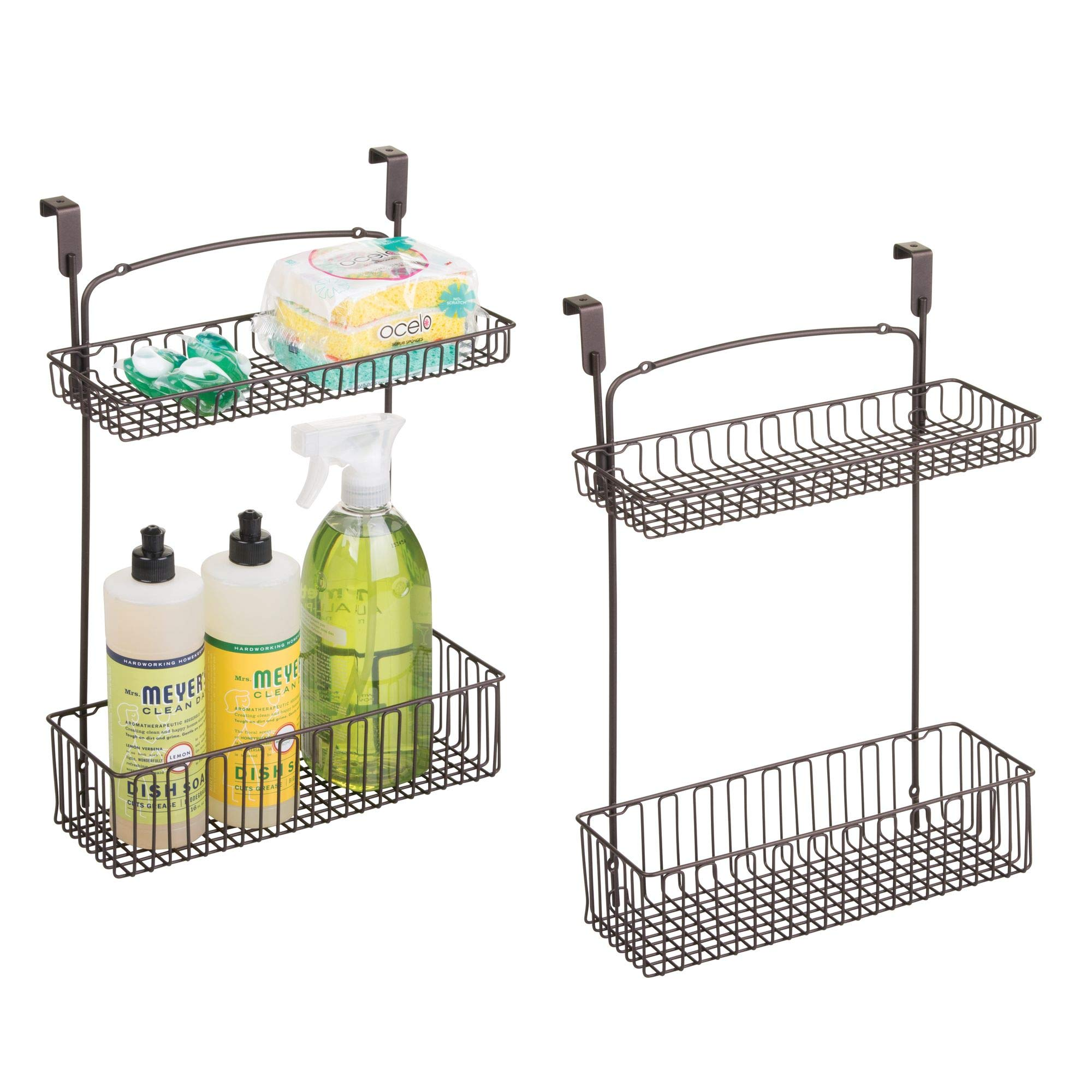 mDesign Over Cabinet Kitchen Storage Organizer Holder or Basket - Hang Over Cabinet Doors in Kitchen/Pantry - Holds Dish Soap, Window Cleaner, Sponges - Pack of 2, Steel Wire in Bronze Finish