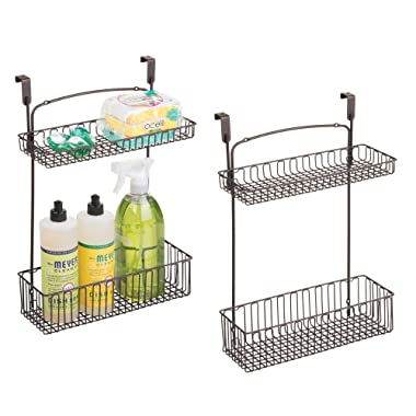 mDesign Metal Farmhouse Over Cabinet Kitchen Storage Organizer Holder or Basket - Hang Over Cabinet Doors in Kitchen/Pantry - Holds Dish Soap, Window Cleaner, Sponges - 2 Pack - Bronze