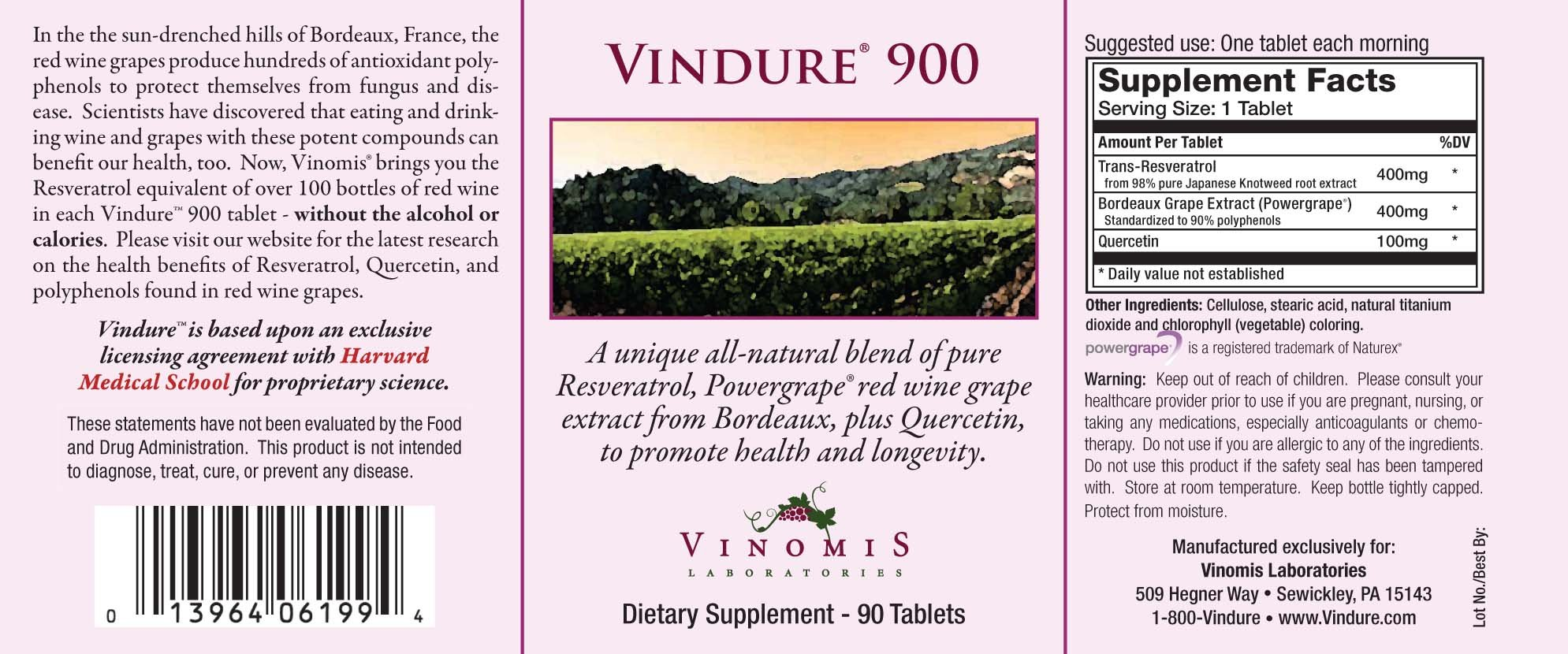 Vindure 900 Resveratrol Supplement - 90 Day Supply