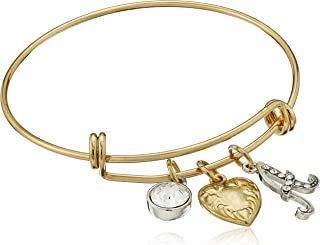 """product image for 1928 Jewelry 14k Gold Dipped Heart Initial Crystal Charm Bracelet, 2.5"""""""
