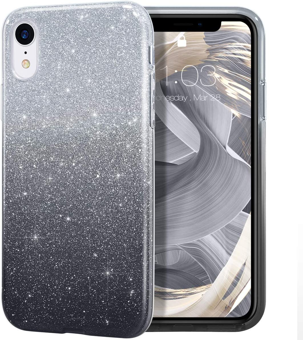 "MILPROX Glitter case for iPhone XR 6.1"", Shiny Sparkle Bling, 3 Layer Hybrid Protective Soft Case- (Black Gradient)"