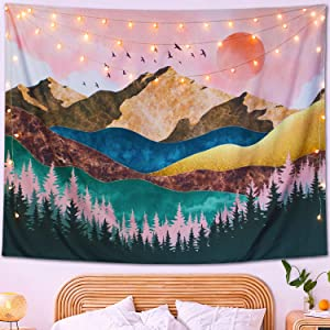 Neasow Mountain Sunset Bohemian Tapestry Wall Hanging, Tree Forest Nature Landscape Art Tapestries Boho Home Decor Blanket for Room,Sundown Red,60×80 inches