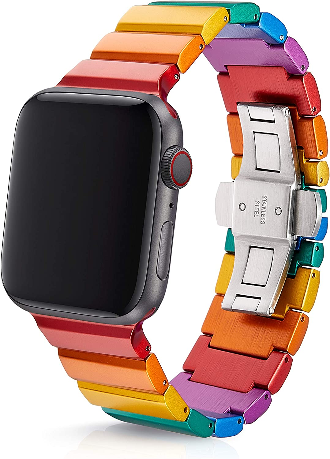 42/44mm JUUK Ligero Rainbow Premium Watch Band Made for The Apple Watch, Using Aircraft Grade, Hard Anodized 6000 Series Aluminum with a Solid Stainless Steel Butterfly deployant Buckle (Matte)
