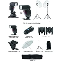 Sonia Camera Flash Speedlite Speedlight VT631RF Kit for Canon Nikon Sony & all other DSLR Cameras GN 42 (2 Pcs Combo) : 2 Camera Flash with built in Radio Trigger + 2 Radio Trigger Transmitter + 2 Light Stand + 2 Umbrella Sungun / Flash Adapter + 2 White Umbrella + 1 Kit Bag