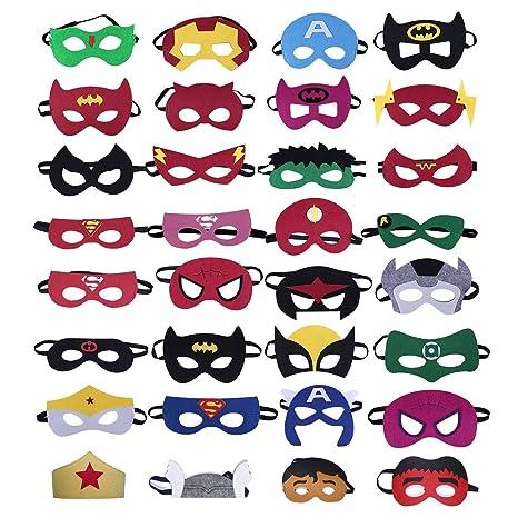 Finte 32 máscaras de superhéroe, máscaras de Fiesta de cumpleaños para niños, máscaras de Fieltro para Recuerdos de Fiesta para niños