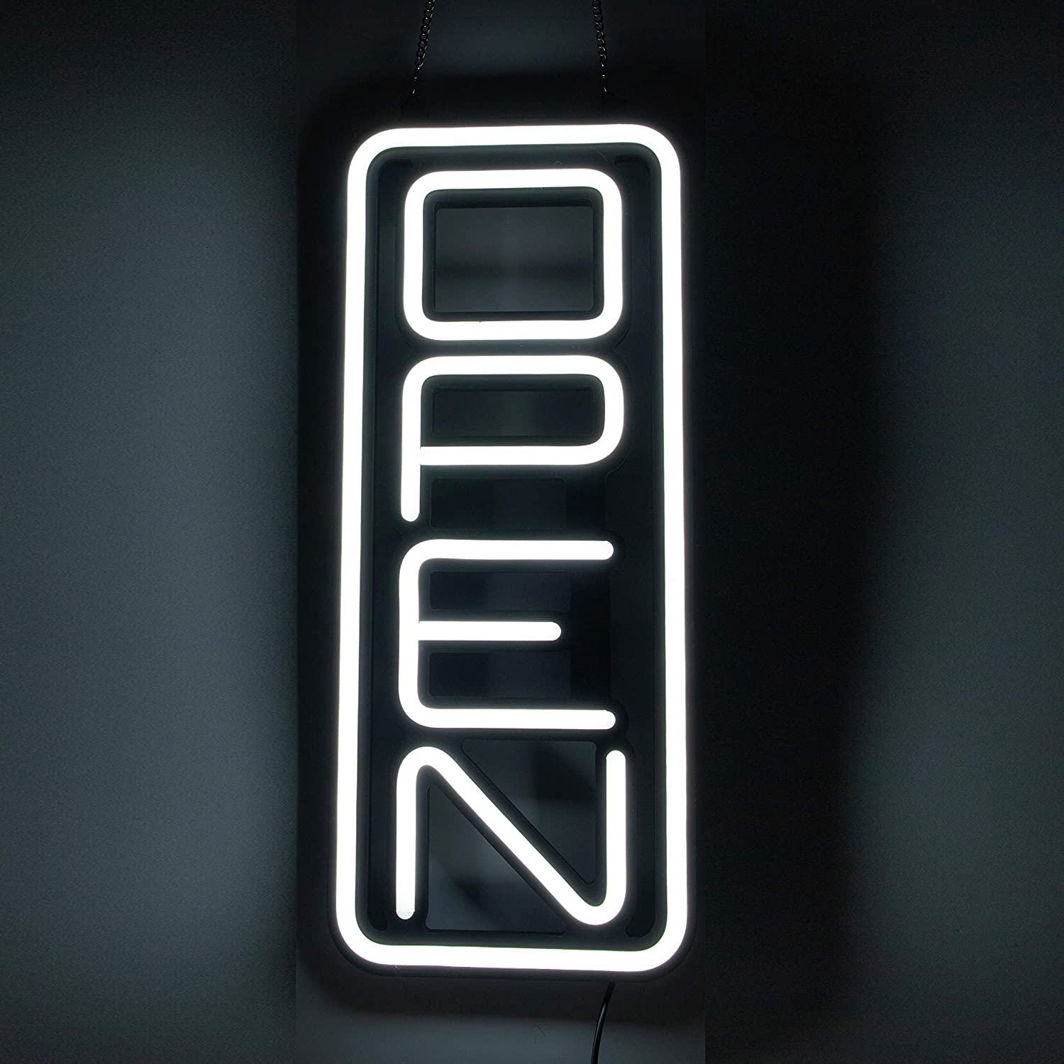 Includes Extra Will Return Clock Sign with Hours Innovative NEON Style LED Light Technology to Attract Customers Super Bright Open Signs for Business Vertical All White LED Open Sign